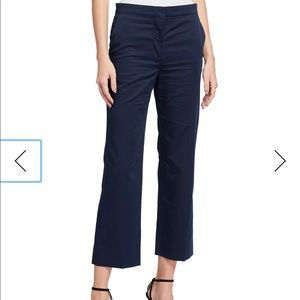 St. John Collection Navy Flare Cropped Pants Sz 4